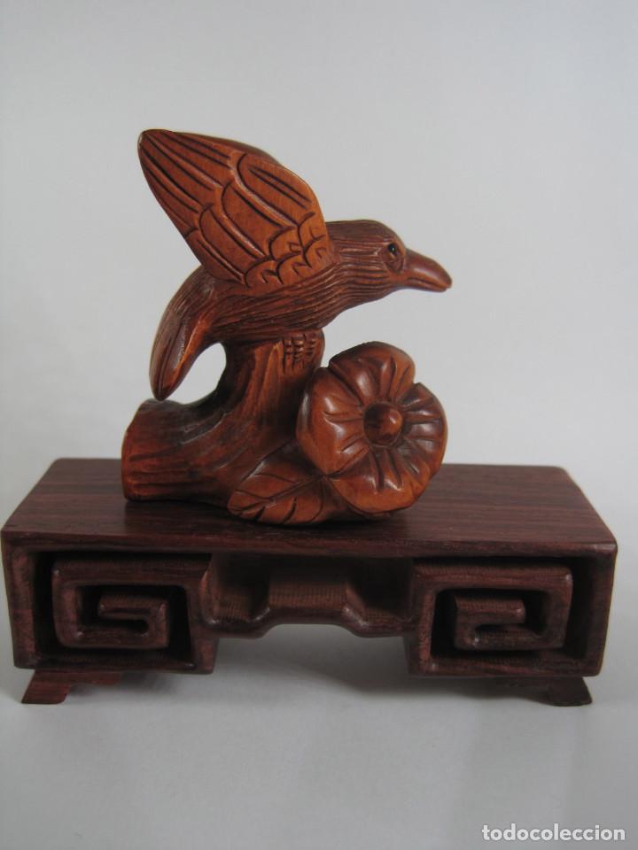 Arte: Artesania Japonesa, Antiguo Netsuke , tallado a mano en madera , Japon, Firmado - Foto 2 - 78587589