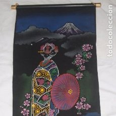 Arte: PERGAMINO DE PINTURA ESTILO JAPONÉS SOBRE TELA AÑOS 50-60. Lote 80040781