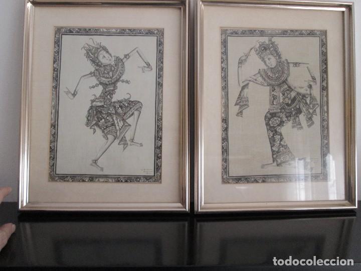 DOS CUADROS ORIJINALES INDONESIOS = BALI BATUAN FIRMA BADUNG (Arte - Étnico - Oceanía)
