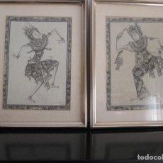 Arte: DOS CUADROS ORIJINALES INDONESIOS = BALI BATUAN FIRMA BADUNG . Lote 81598148