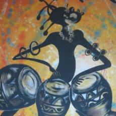 Arte: 100 CM - GRAN PINTURA ORIGINAL FIRMADA - SOUNDS OF AFRICA - MUSICA ZAMBIA. Lote 81931868
