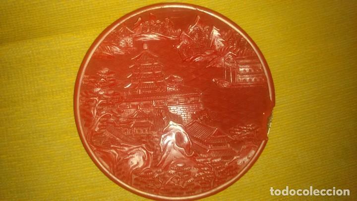 ANTIGUO PLATO DE CINABRIO MED.17CM MIREN FOTOS (Arte - Étnico - Asia)