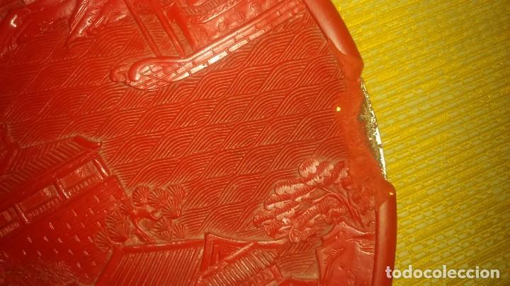 Arte: Antiguo plato de cinabrio med.17cm miren fotos - Foto 3 - 101323010