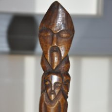 Arte: AFRICAN CARVED STAINED BONE TOTEM POLE CEREMONIAL , TOTEM AFRICANO TALLADO EN HUESO . Lote 83549468
