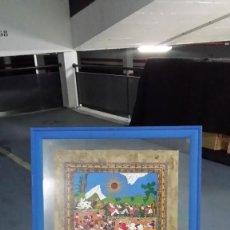 Arte: ARTE INDÍGENA MEXICANO PAPEL DE AMATE (CORTEZA DE ARBOL) CUADRO DE 132 CM POR 54 CM. Lote 84495492