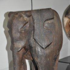 Arte: ANTIGUO ELEFANTE AFRICANO TALLADO EN MADERA , AFRICAN FIGURE ELEPHANT CARVED IN WOOD EBONY. Lote 84602320