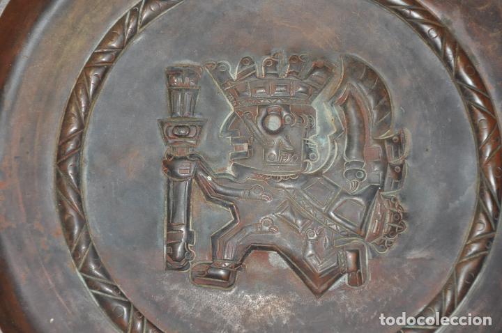 Arte: PLATO DE COLGAR EN COBRE , CON MOTIVO DE GUERRERO MAYA , REALIZADO A MANO - Foto 3 - 84633196