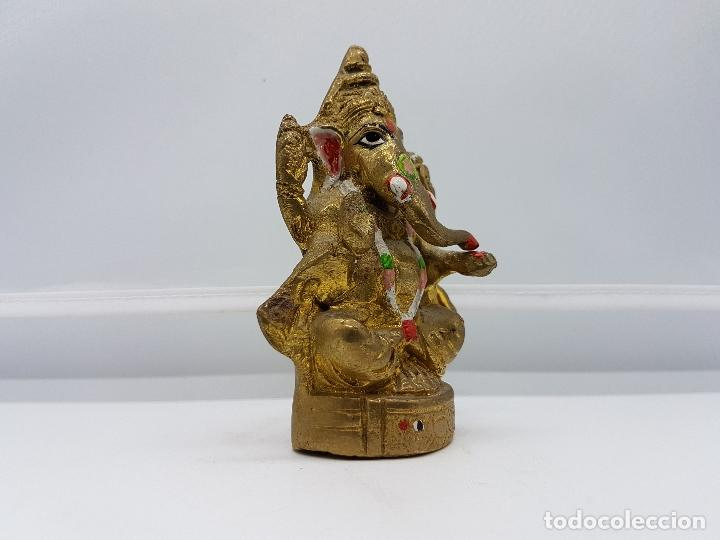 Arte: Imagen antigua de Ganesha dios de la sabiduría en bronce parcialmente policromado, hecho en Chennai - Foto 2 - 85351200
