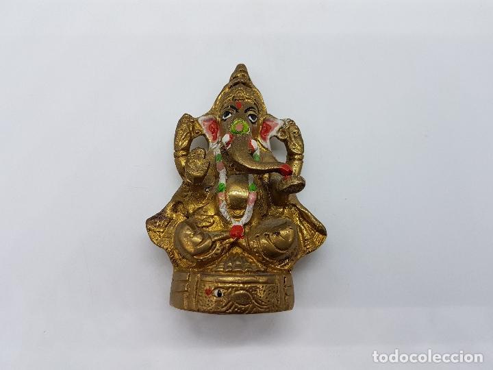 Arte: Imagen antigua de Ganesha dios de la sabiduría en bronce parcialmente policromado, hecho en Chennai - Foto 6 - 85351200