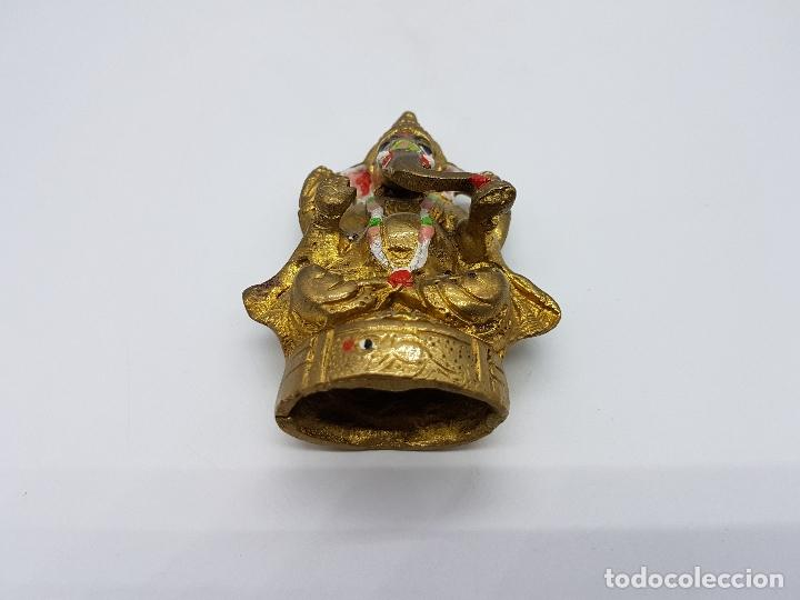 Arte: Imagen antigua de Ganesha dios de la sabiduría en bronce parcialmente policromado, hecho en Chennai - Foto 7 - 85351200