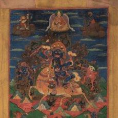 Arte: SERTRAP ESCUELA TIBETANA DEL SIGLO XVIII. TANGKA (GOUACHE SOBRE ALGODÓN) ESTANDARTE.. Lote 85691564