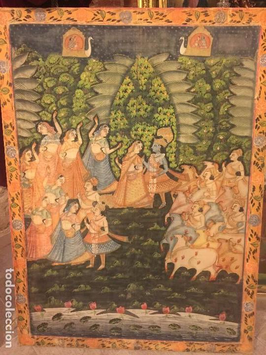 GRAN PINTURA HINDU SOBRE SEDA (Arte - Étnico - Asia)