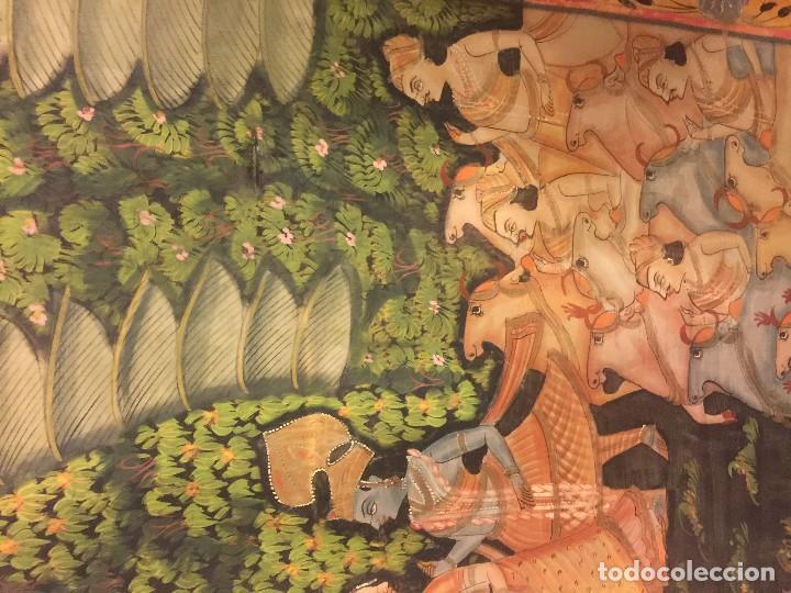 Arte: gran pintura hindu sobre seda - Foto 2 - 86665488