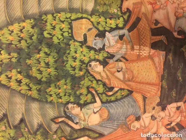 Arte: gran pintura hindu sobre seda - Foto 3 - 86665488