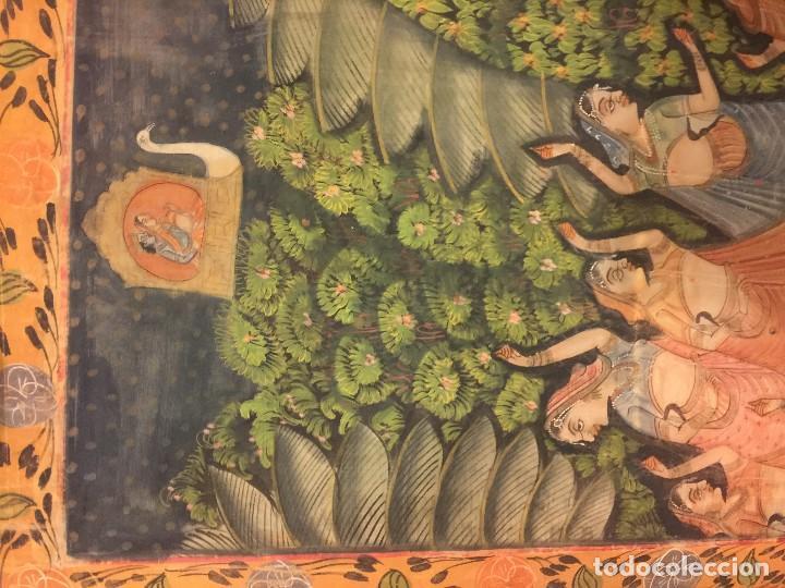 Arte: gran pintura hindu sobre seda - Foto 4 - 86665488