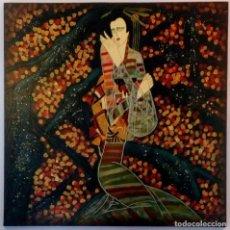 Arte: GRAN CUADRO JAPONES EN MADERA TALLADA Y PINTADO AL OLEO - 102 X 102 CM. Lote 86747636