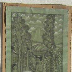 Arte: ANTIGUA TELA PINTADA A MANO FIRMADA. Lote 86799984