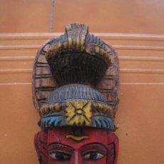 Arte: ANTIGUO ADORNO DE PARED INDIO / INDIA , TALLADO Y PINTADO A MANO EN MADERA. Lote 87882048