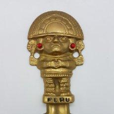 Kunst - Antiguo Tumi, cuchillo ceremonial en bronce de la cultura Moche del Perú, con imagen dios Naylamp . - 88161984