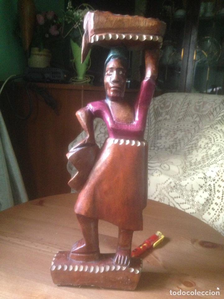 Arte: Talla de caoba policromada Africana, años 60/70 - Foto 6 - 76085813