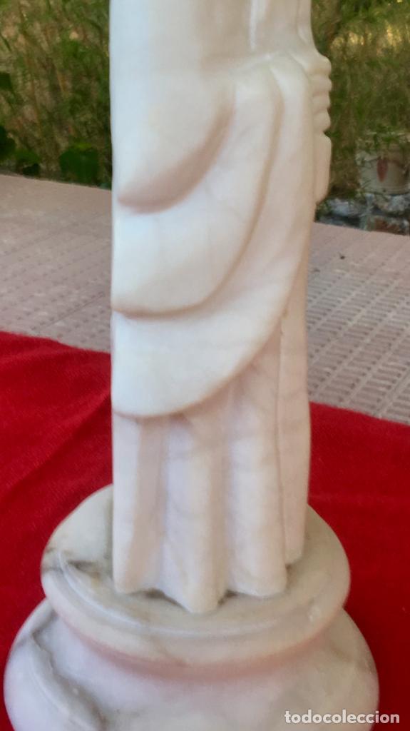 Arte: Figura talla alabastro sabio chino oriental años 60 España con base en alabastro 32x10cm - Foto 21 - 88378316