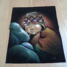 Arte: PINTURA SOBRE TELA ATERCIOPELADA NEGRA -- PERÚ -- NIÑA INDÍGENA -- MEDIDAS 35 X 27 CM. Lote 88990648