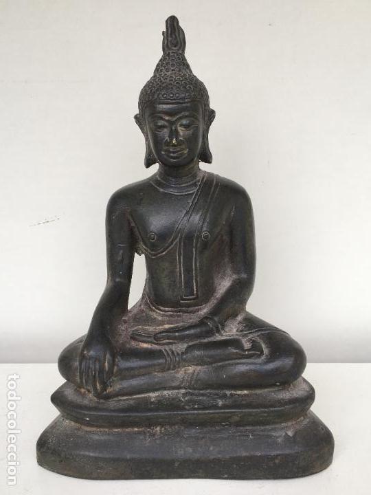 ANTIGUA ESCULTURA DE BUDA EN BRONCE (Arte - Étnico - Asia)