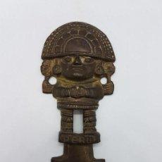 Arte: ANTIGUA IMAGEN EMBLEMA EN BRONCE DEL DIOS WIRACOCHA DEL PERU CON RELIEVES CINCELADOS.. Lote 89501508