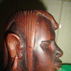 Arte: BUSTO DE VARÓN MASAI EN CAOBA AFRICANA. KENIA, C.1970. Lote 92227360