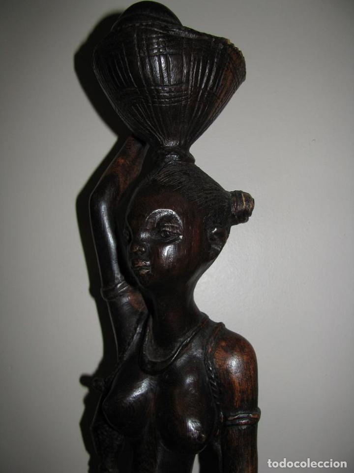 Arte: FIGURA DE MUJER AFRICANA TALLADA EN MADERA (58 CM) LEER DESCRIPCION - Foto 2 - 94209745