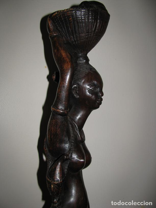 Arte: FIGURA DE MUJER AFRICANA TALLADA EN MADERA (58 CM) LEER DESCRIPCION - Foto 3 - 94209745