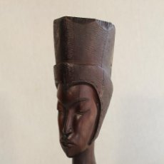 Arte: BUSTO AFRICANA EN MADERA TALLADA. Lote 94458170