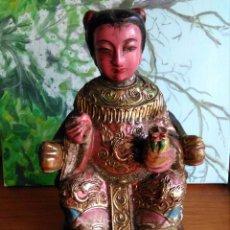 Arte: ANTIGUA ESCULTURA EN MADERA TALLADA CHINA DIOSA GUAN YING U KWAN YING. Lote 95391599