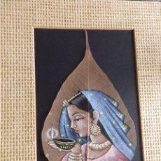 Arte: TRES PINTURAS SOBRE HOJA,INDIA?,23,15 Y 14 CMS.,MARCO SIMIL BAMBU.TEMA RELIGION-NAVIDAD. Lote 95565327