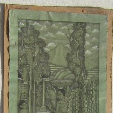 Arte: ANTIGUA TELA PINTADA A MANO FIRMADA. Lote 96602363