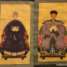 Arte: PAREJA DE ANCESTROS CHINOS, PINTURA TEMPLE SOBRE TELA. Lote 97389931