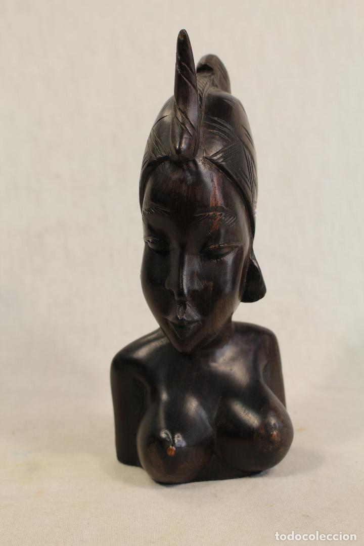 Arte: busto mujer africana en madera - Foto 5 - 98180231