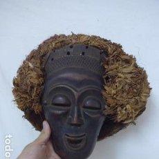 Arte: ANTIGUA MASCARA AFRICANA (PARA PONERSE, RITUAL) DE MADERA TALLADA, ORIGINAL, DE ANGOLA O CONGO.. Lote 99148907