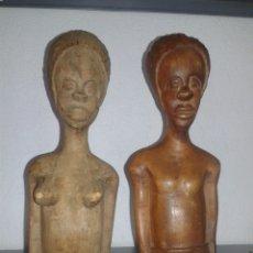 Arte: PAREJA DE TALLAS AFRICANAS EN MADERA TALLADA 33 CM ALTO. Lote 99532036