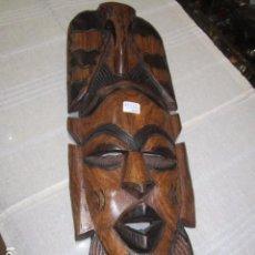 Arte: MÁSCARA AFRICANA TALLADA EN MADERA. 46 X 18 CMS.. Lote 99717543