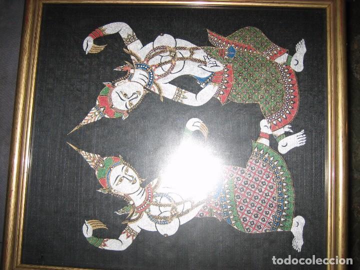 Arte: TAPIZ PAREJA CUADROS ORIENTALES PEQUEÑOS TAPICES ESTAMPADOS DE SEDA BAILARINAS - Foto 6 - 117046580