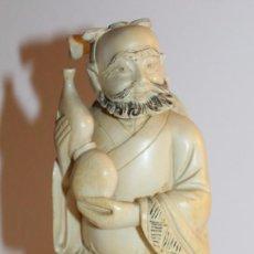 Arte: ESCULTURA CHINA TALLADA A MANO - SABIO CON CALABAZA - FIRMADA - PRINCIPIOS SIGLO XX. Lote 100423843