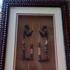 Arte: PRECIOSO CUADRO AFRICANO CON IMÁGENES EN EL INTERIOR DEL CUADRO RELIEVE.. Lote 101156435