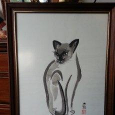Arte: PINTURA ACUARELA SUMI-E GATO. Lote 101401471