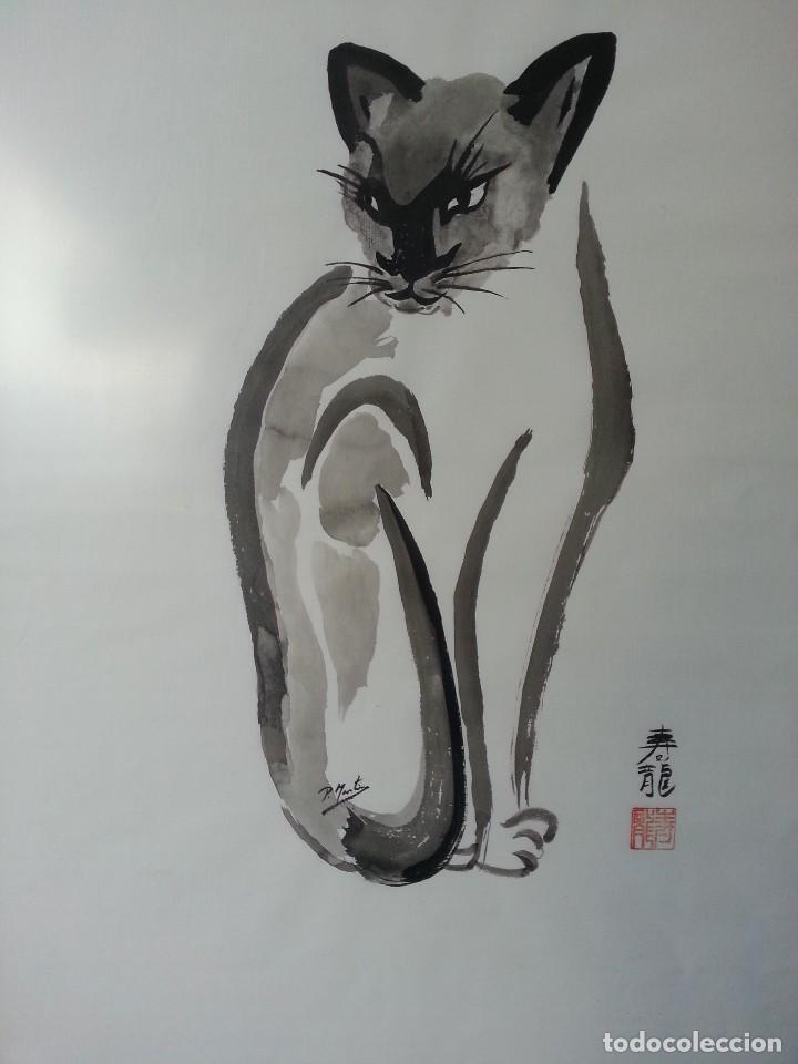 Arte: PINTURA ACUARELA SUMI-E GATO - Foto 2 - 101401471