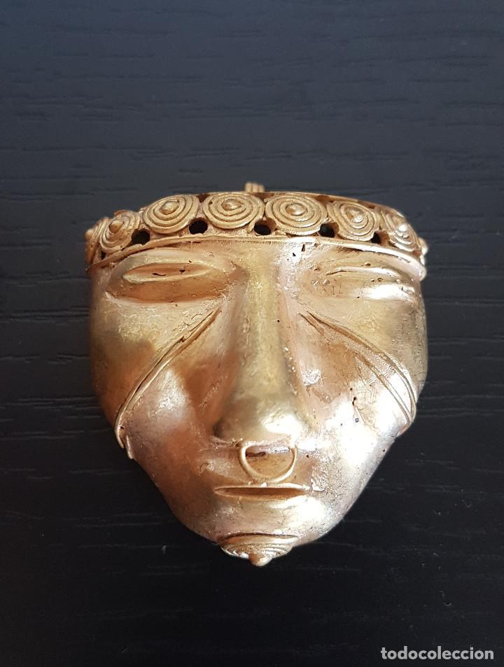 MASCARA TRIBAL DE LA CULTURA QUIMBAYA CON 18 GRAMOS DE PESO (Kunst - Ethnische - Amerika)