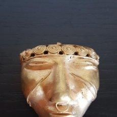 Arte: MASCARA TRIBAL DE LA CULTURA QUIMBAYA CON 18 GRAMOS DE PESO. Lote 101521347