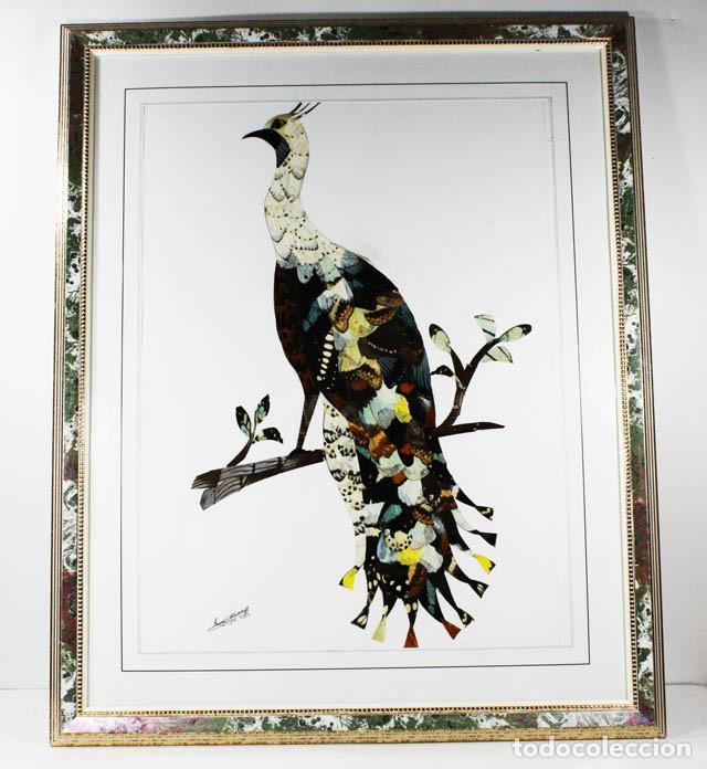 CURIOSO CUADRO CON ALAS DE MARIPOSA CON MARCO (CON CRISTAL) CONGO 2002 55,00 X 45,00 CM LAMINA (Arte - Étnico - África)