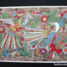 Arte: CURIOSA LAMINA PINTADA EN PAPEL AMATE MEJICO 28,50 X 42,50 CM CUADRO. Lote 102324887