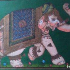 Arte: CUADRO PINTADO SOBRE TELA CON MOTIVO HINDÚ DE ELEFANTE ENGALANADO SOBRE FONDO VERDE. ENMARCADO. Lote 102588527